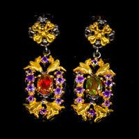 Orange Opal Earrings Silver 925 Sterling Beauty Rainbow7x5mm  /SEF20-13-1