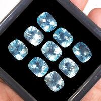 VVS 9 Pcs 11mm/9mm Natural Blue Topaz AAA Quality Loose Cushion Cut Gems