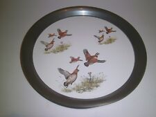 Mid Century Vintage Quail Serving Tray with beaded Pewter Rim/Bottom Hunting