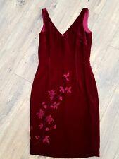 Monsoon Twilight Velvet Rose Detail Silk Blend Red Dress fits UK 8