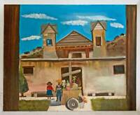 Folk Art Southwest Naive Painting Old Adobe Church Mission Kids Gee 78