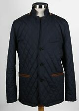 Brook Brothers Navy Polyester Mens Long Sleeve Quilted Button Up Jacket Size L
