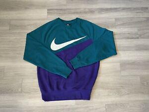 Nike 90s Inspo Two Tone Green Purple Big Logo Swoosh Sweatshirt Size: Small