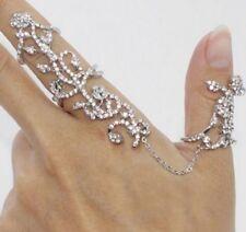 ANELLI d'argento delle donne più due dita Stack Knuckle anello Band Crystal Set 2 UK