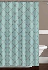 Turquoise Gray White Fabric Shower Curtain: Floral Moroccan Design