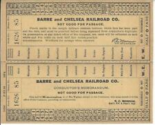 BARRE AND CHELSEA RAILROAD CO. CONDUCTOR'S MEMORANDUM,NOT GOOD FOR PASSAGE