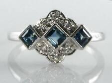 DIVINE 9K 9CT WHITE GOLD BLUE SAPPHIRE & DIAMOND ART DECO INS RING FREE RESIZE