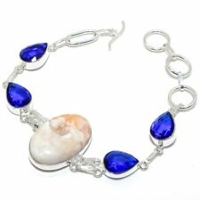 """Scolecite,Sapphire Ethnic 925 Sterling Silver Jewelry Bracelet 7-7.99"""" NM-LL-357"""