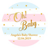 48 x BABY SHOWER PERSONALISED ROUND STICKERS LABELS OH BABY PARTY BAG FAVOURS
