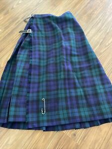 Kilt Makers Inverness  HECTOR RUSSELL Pure Wool GREEN Pleated Plaid Kilt SZ XS