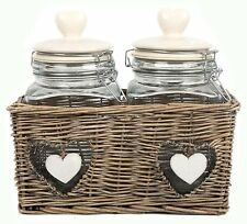 Double Heart Glass Food Storage Jars With Clip Flip Top Lids in Wicker Basket