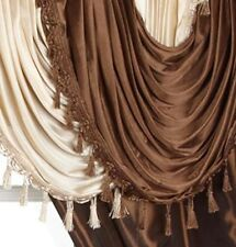 Set of 5 Window Curtains with Attached Valance Tie Backs 54 x 84 Inch Elegant