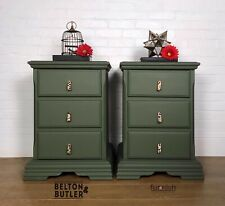 Pair Of Solid Wood 3 Drawer Large Green Wooden Bedside Drawers, Leopard Print