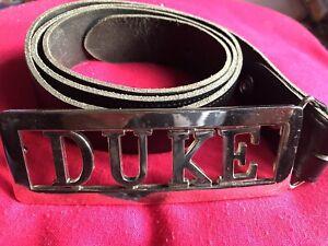 Cowboy Biker DUKE Genuine Hide Belt SZ L GAY Fancy Dress Black Gold Buckle Mens