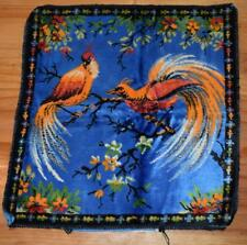 Vintage Homemade Velvet Cushion Cover with birds - RETRO piece to finish