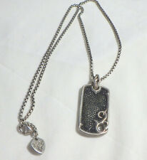 STEPHEN WEBSTER  BLACK ENAMEL RAYSKIN TEXTURED DOG TAG STYLE NECKLACE W, ORG.CHA