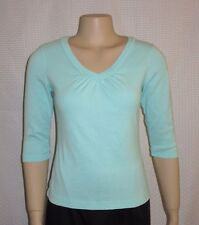 Bay Studio Woman Top Size PS PM V Neck 3/4 Sleeve Light Blue Pima Cotton Casual
