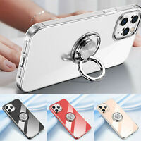 For iPhone 12 Pro Max 12 Mini 11 XR X 8 7 Shockproof Ring Stand Clear Case Cover