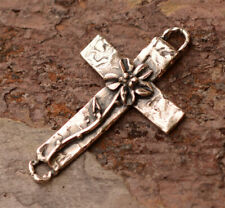 Artisan Cross with Long Stemmed Flower in Sterling Silver, R-696, S/1