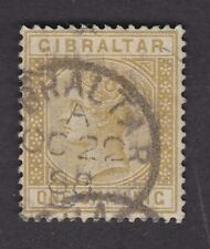 Gibraltar QV 1886/7 1/- bistre SG14 Fine Used dated example