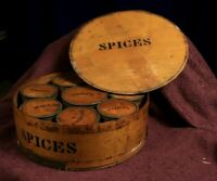 Vintage Bentwood Larger Round Box of 8 Smaller Round Spices 8 Containers