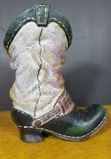 Vintage Cast Iron Gray  Black Boot Door Stop