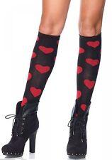 Leg Avenue LOVE SICK HEART knee highs black red socks punkabilly