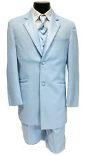 36R Mens Light Blue Retro Vintage Tuxedo Package Jacket Pants Vest Tie Theater