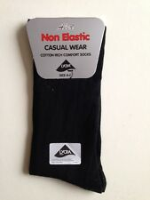 LADIES DIABETIC NON ELASTIC COTTON CASUAL WEAR SOCKS BLACK  SIZE  4-6