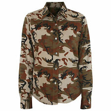 LUCIEN PELLAT-FINET $830 camo print embroidered skull LPF camouflage shirt M