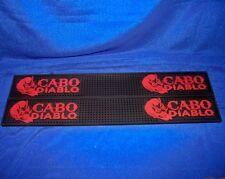 Two Cabo Diablo Tequila Heavy Duty Black Bar Rail Service / Spill Mats - New!