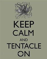 Octopus Art Print 8 x 10 - Keep Calm & Tentacle On - Nautical - Haeckel - Ocean