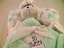 Baby Gear Blanket & Security 2 Pc Teddy Bear Cloud White Gray Green Stars Lovey
