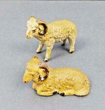 2 Vintage Italian Bighorn Sheep- Ram- Composition- Putz -Italy- Figurines