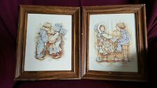 Vintage Holly Hobbie & Robby framed Pictures Prints  Frames Boy Girl