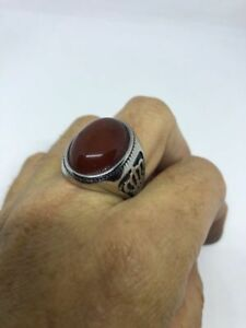 Vintage Silver Stainless Steel Genuine Carnelian Size 13 Men's Crown Ring