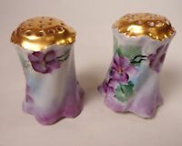 Rosenthal Versailles Bavaria Gold Top Salt and Pepper Shakers Violet Flowers