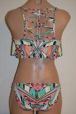 NWT Jessica Simpson Swimsuit Bikini 2pc Set Multi Color BLK Sz  S