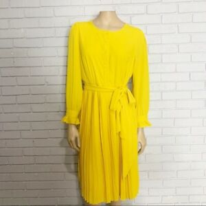 J. Crew Yellow Tie-Front Pleated Dress - Size 12P