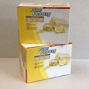 12 p. Pure Protein Bars Lemon Cake Gluten Free 20g 2g 190 calories. No GMO Fresh
