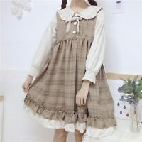 Japanese Lolita Women Girl Dress Ruffles Check Peter Pan Collar Puff Sleeve Cute