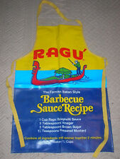 "Ragu' Vintage Advertising Apron Vinyl Barbecue Sauce Recipe  20"" X 30"""