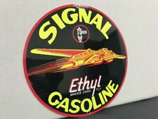 Signal Ethyl gasoline Oil RARE vintage round metal  sign reproduction