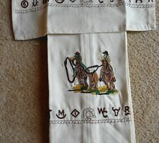 WESTERN KITCHEN TOWELS TEAM ROPER EMBROIDERED BRANDED DESIGN 14X24 100% COTTON