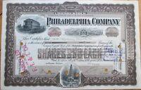 1911 Trolley/Tram/Railroad Stock Certificate: 'Philadelphia Co.' - W/Oil Well PA
