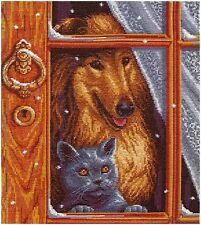 NEW UNOPENED Russian Counted Cross Stitch KIT PANNA J-1247 Alone at home DOG CAT