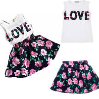 US Baby Girls Kids 2PCS Summer Outfits Clothes Tops Vest+Floral Skirt Dress Set