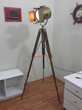 SEARCH LIGHT STUDIO LAMP SPOT LIGHT ANTIQUE TRIPOD BRASS FINISH