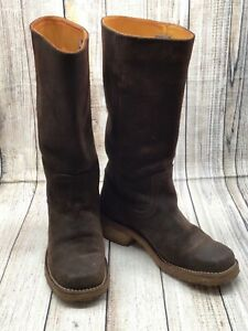 Frye Chocolate Brown Leather Western Boots Rubber Sole Size 7