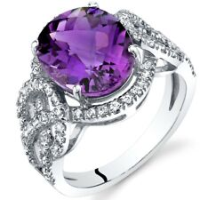 Oravo 14K White Gold 3.00 carat Amethyst Halo Statement Ring